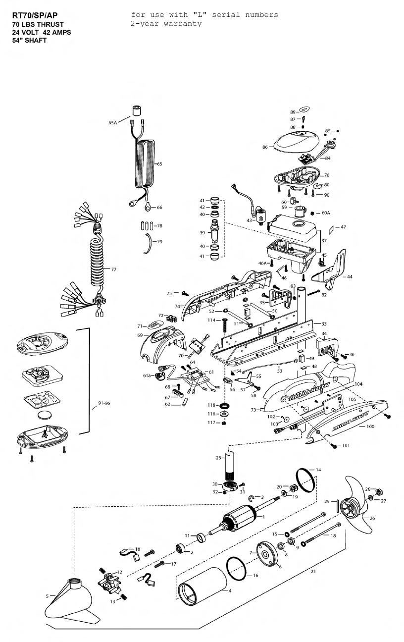 Minn Kota Riptide 70 SP AutoPilot Parts - 2011