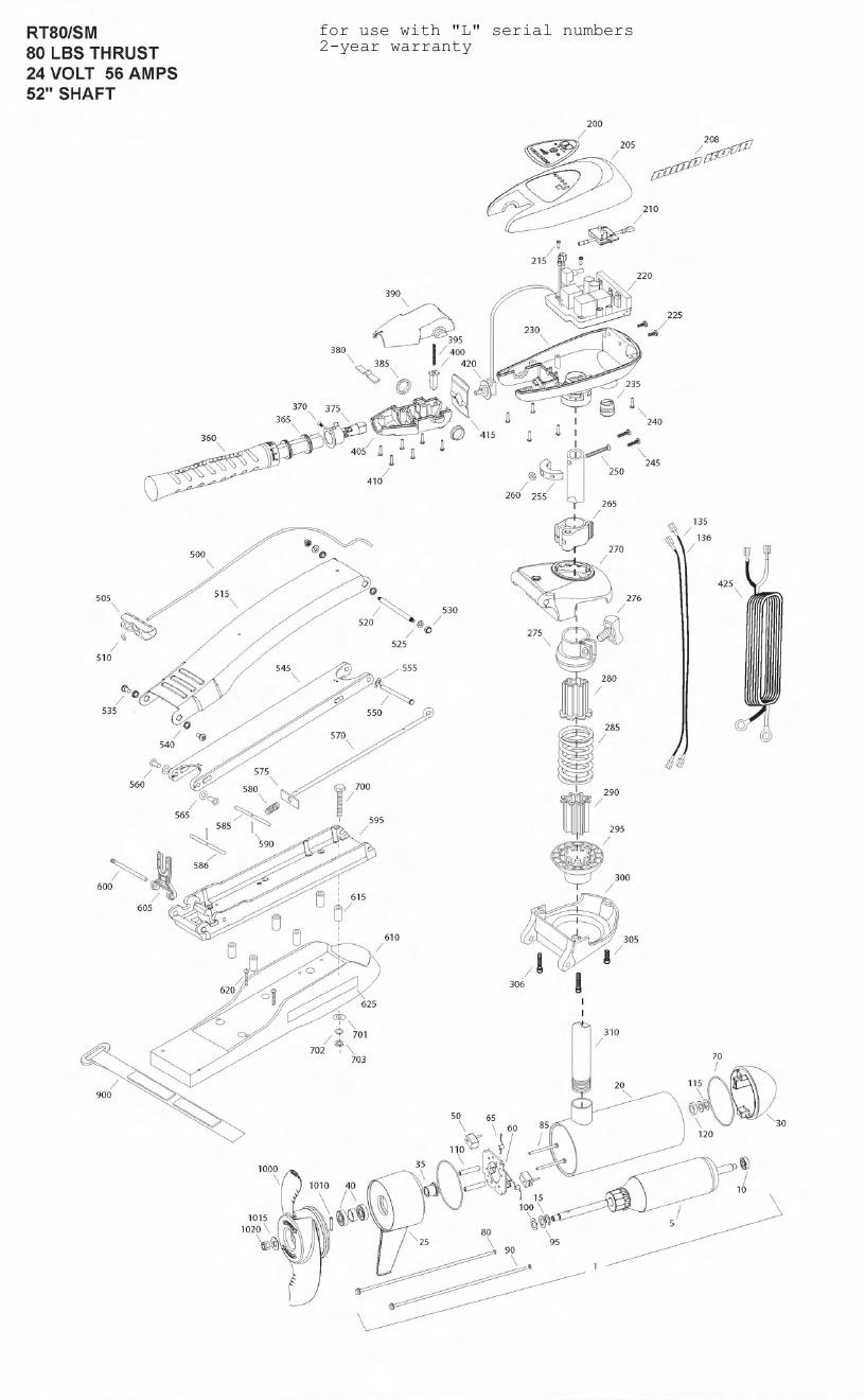 Minn Kota Riptide 80 SM (52 Inch) Parts - 2011