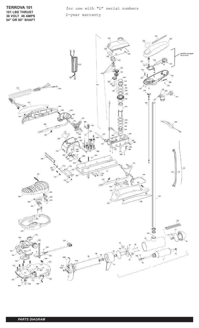 Minn Kota Terrova 101 Parts - 2011