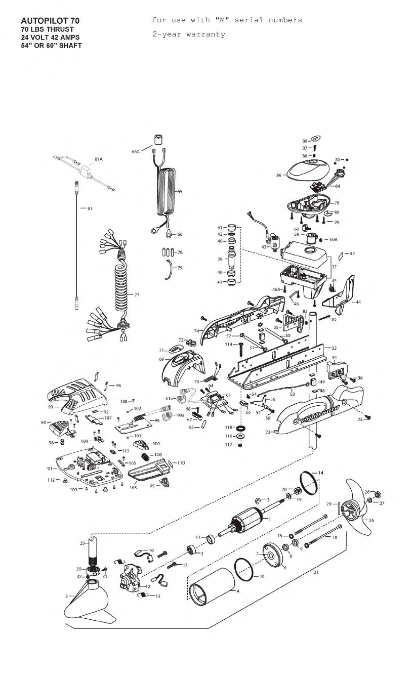 Minn Kota AutoPilot V2 70 Parts - 2012