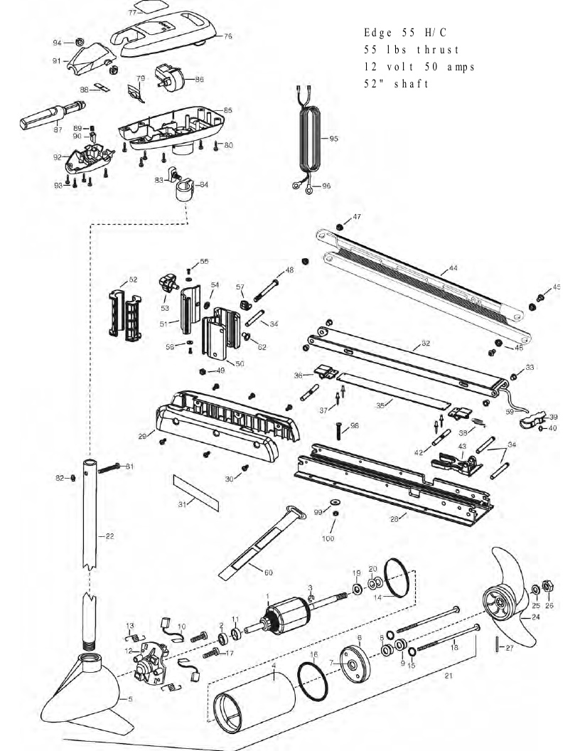 Minn Kota Edge 55 Hand Control Parts - 2012