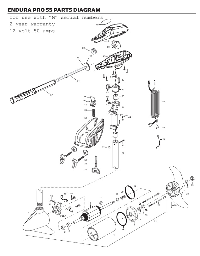 Minn Kota Endura C2 Pro 55 Parts - 2012