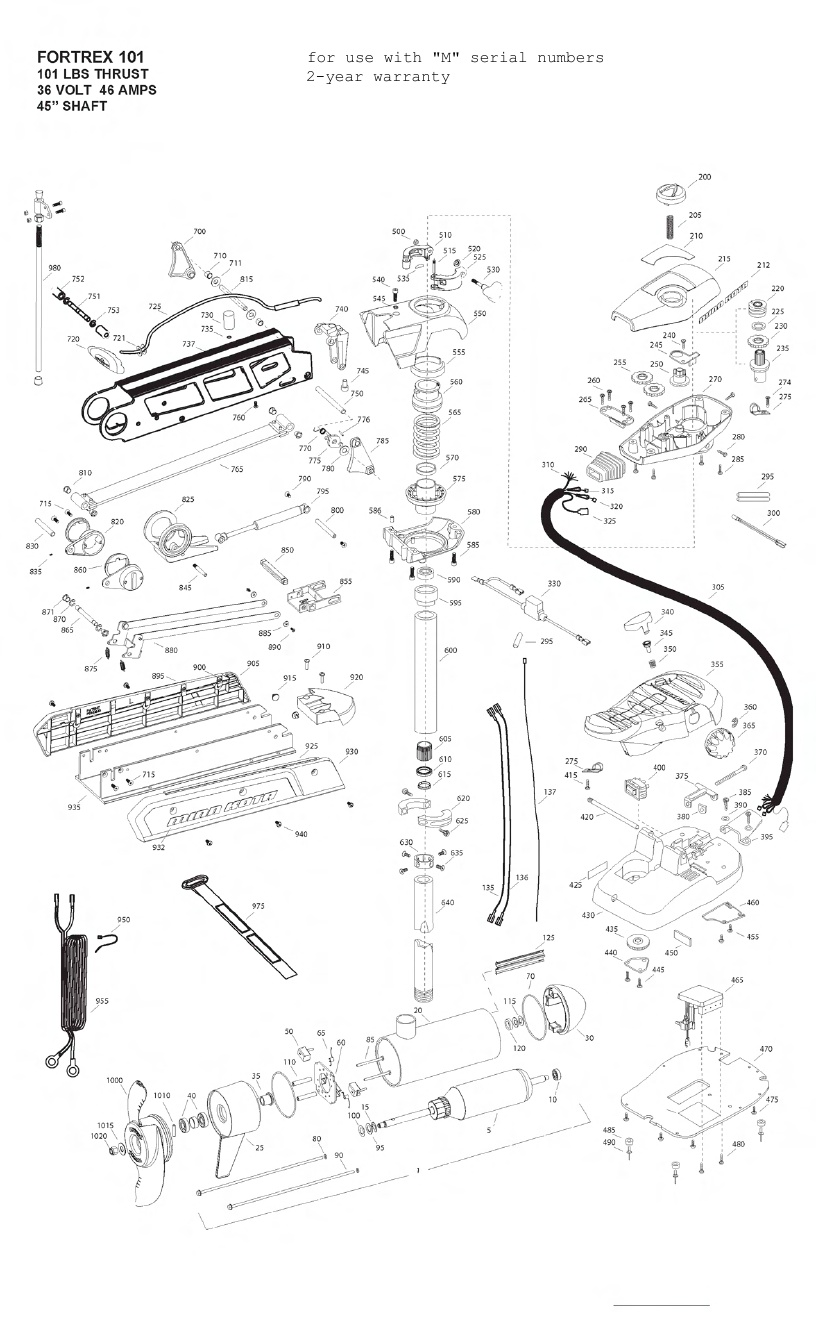 Minn Kota Fortrex 101 (45 Inch) Parts - 2012