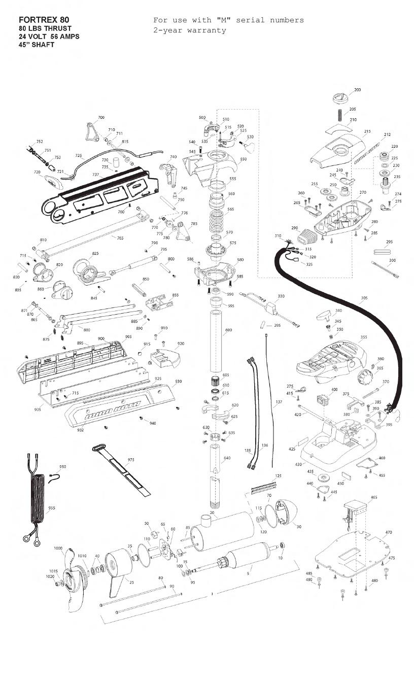 Minn Kota Fortrex 80 (45 Inch) Parts - 2012