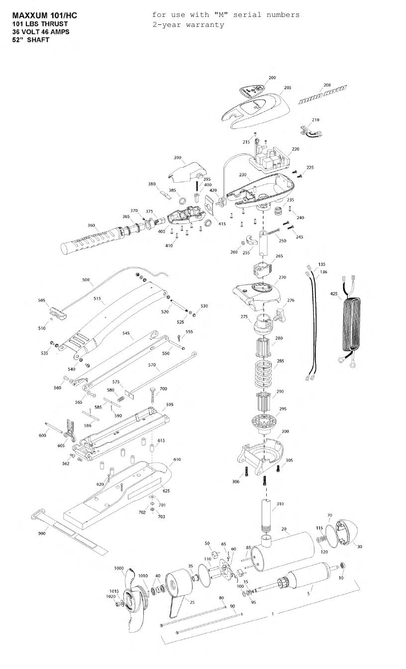 Minn Kota Max 101 Hand Control Parts - 2012