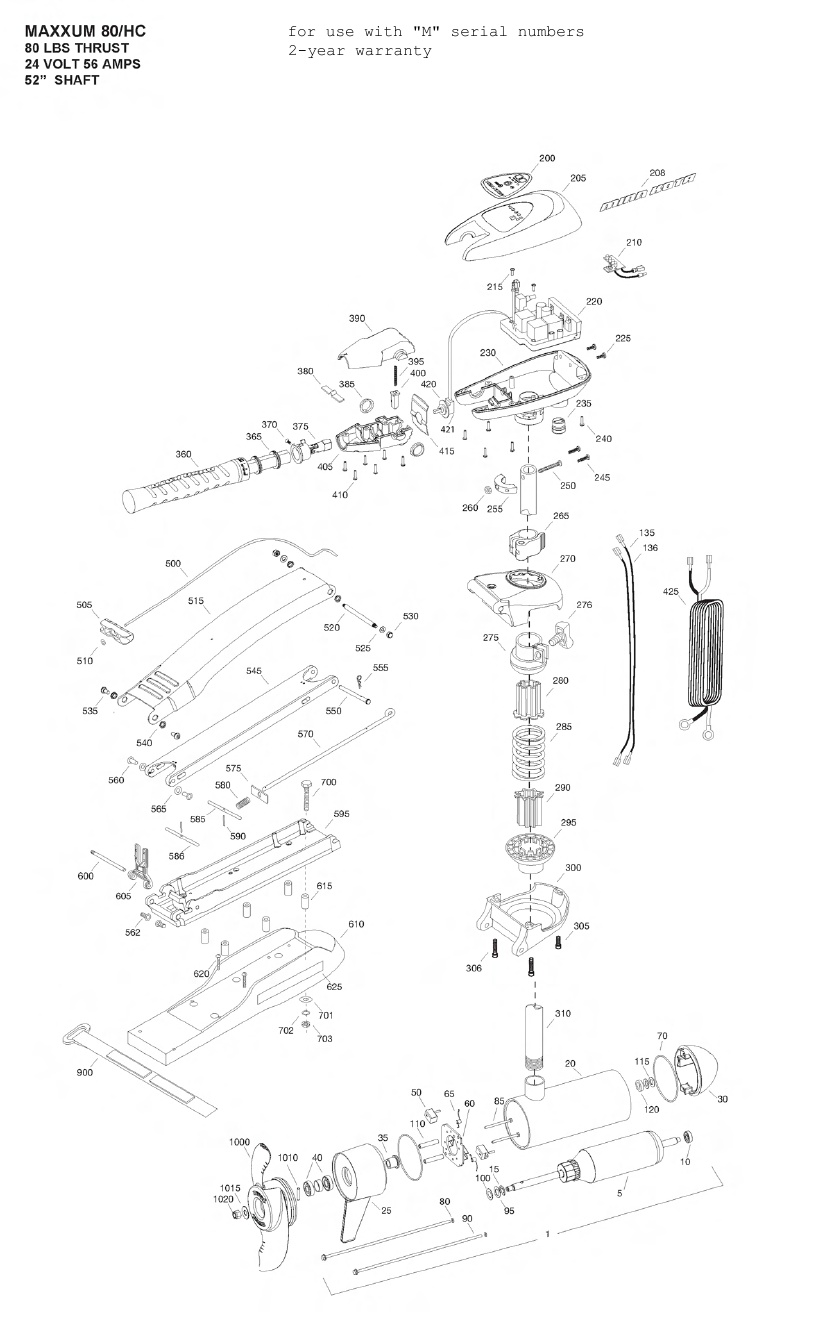 Minn Kota Max 80 Hand Control Parts - 2012