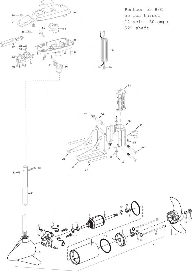 Minn Kota Pontoon 55 Hand Control Parts - 2012