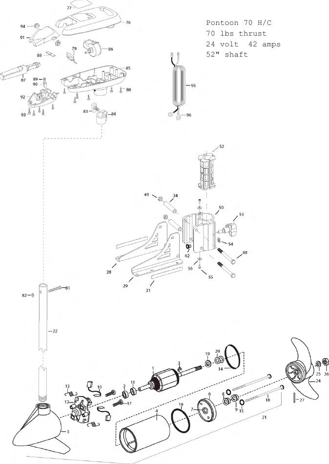 Minn Kota Pontoon 70 Hand Control Parts - 2012