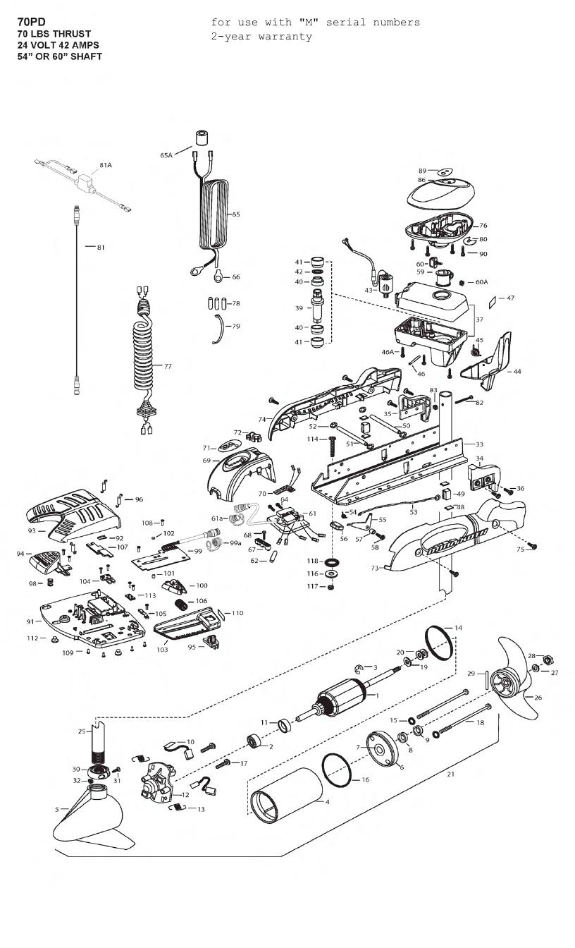 Minn Kota PowerDrive V2 70 Parts - 2012