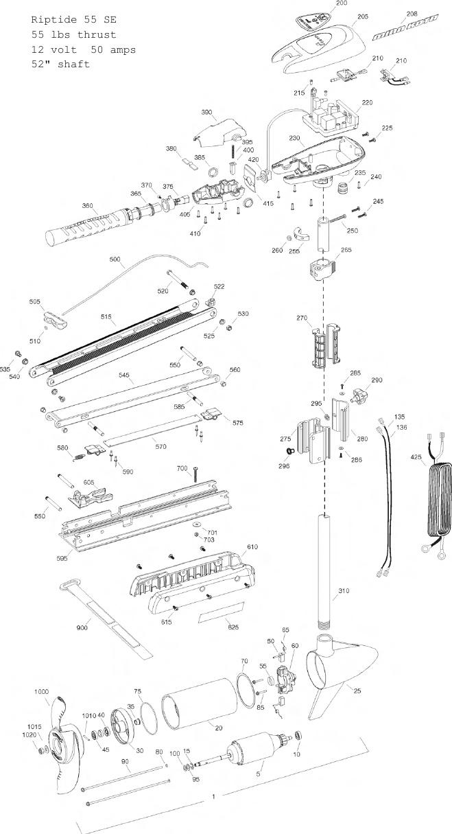 Minn Kota RipTide 55 SE Parts - 2012
