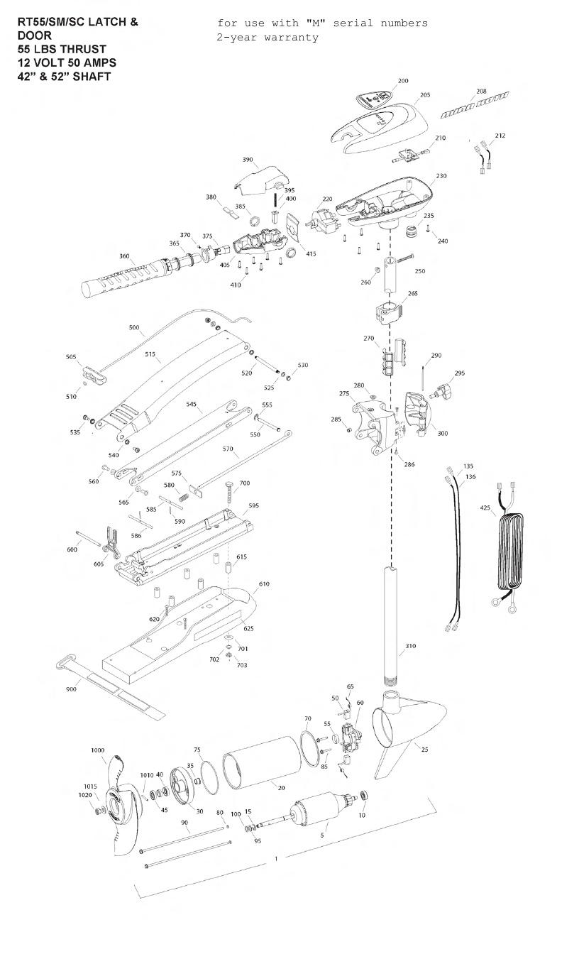 Minn Kota RipTide 55 SM SC Parts - 2012