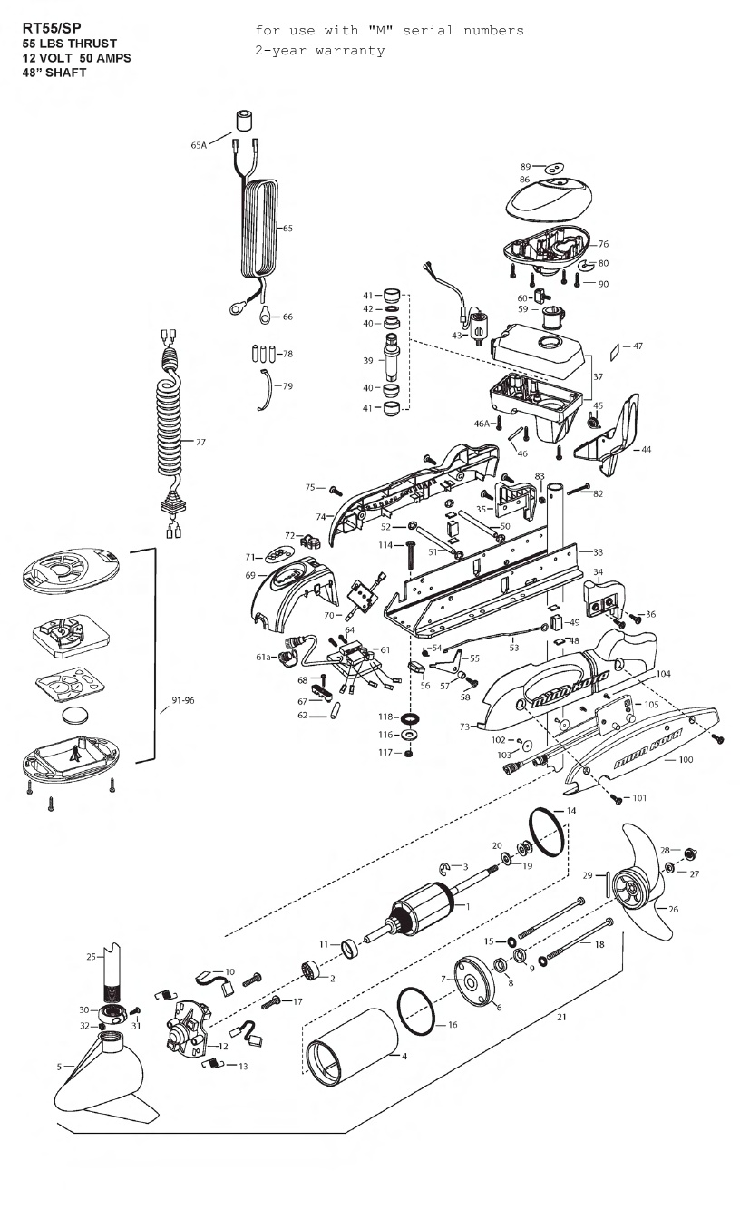 Minn Kota RipTide 55 SP PowerDrive Parts - 2012