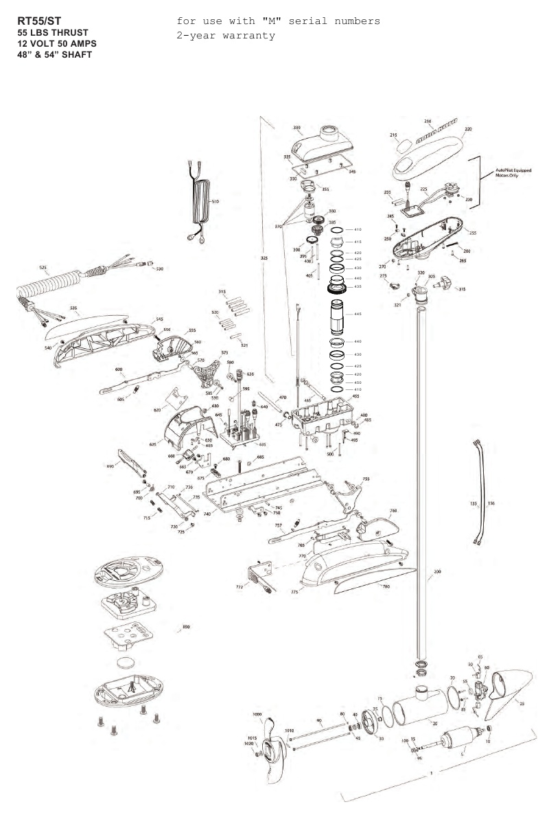 Minn Kota RipTide 55 ST (54 inch) Parts - 2012