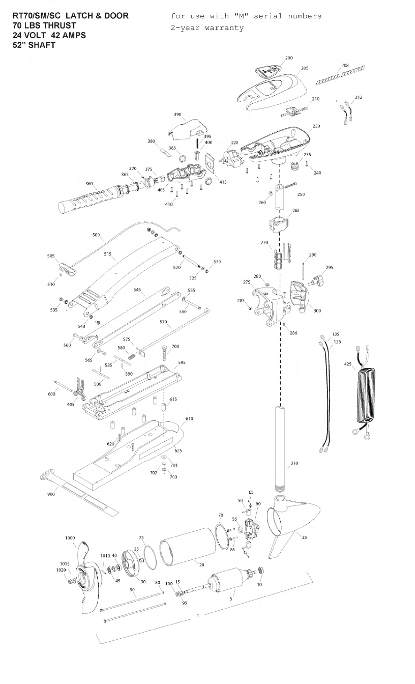 Minn Kota RipTide 70 SM SC Parts - 2012