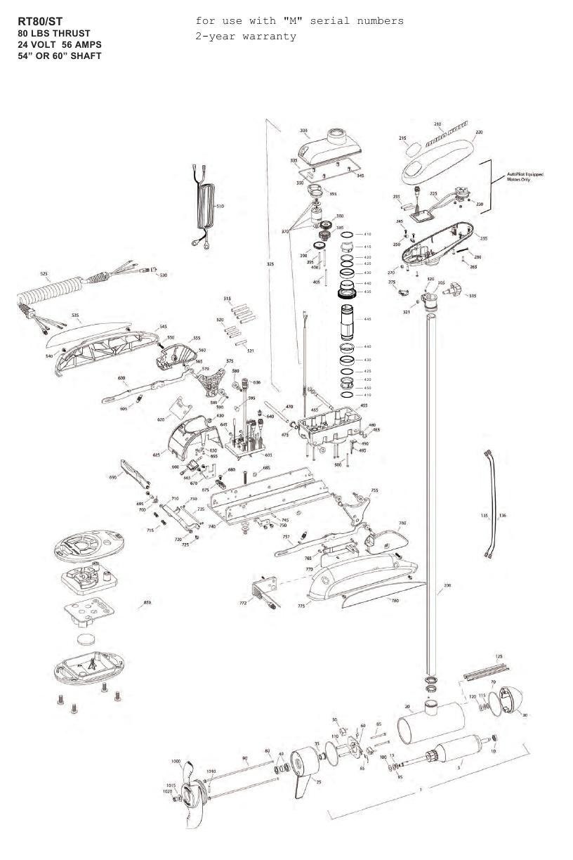 Minn Kota RipTide 80 ST (60 inch) Parts - 2012