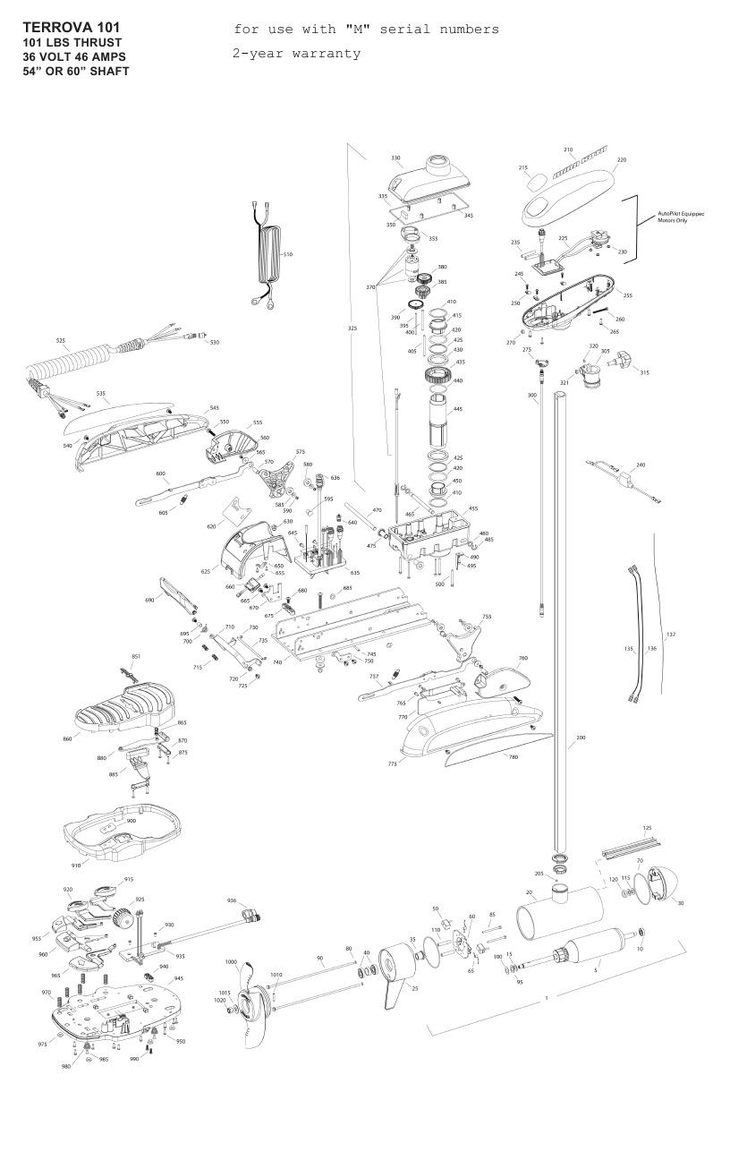 Minn Kota Terrova 101 Parts - 2012