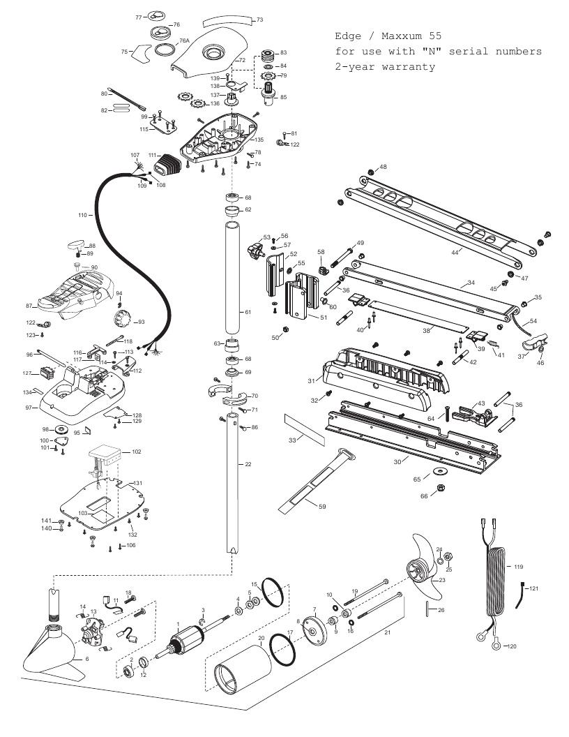 Minn Kota Edge Maxxum 55 Parts - 2013