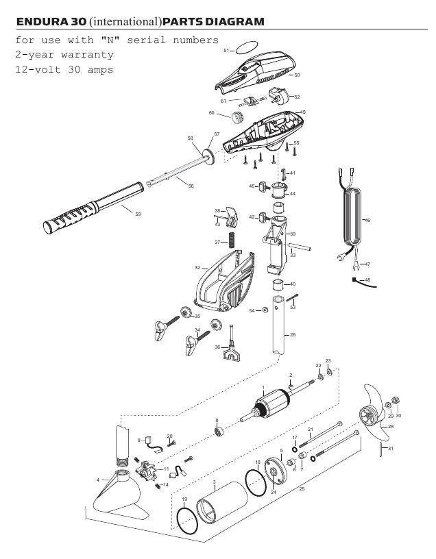 Minn Kota Endura C2 30 International Parts - 2013