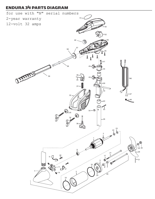 Minn Kota Endura C2 34 Parts - 2013