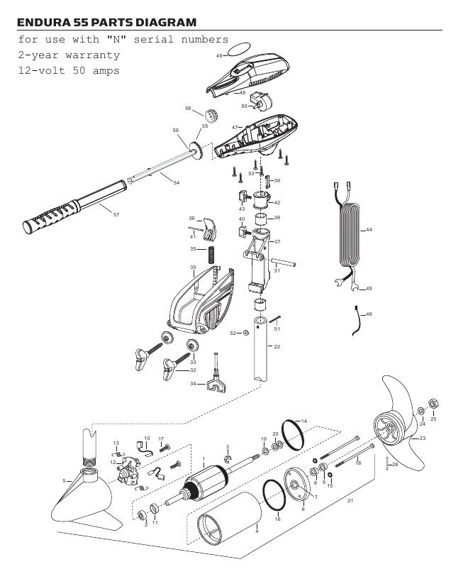 Minn Kota Endura C2 55 Parts - 2013