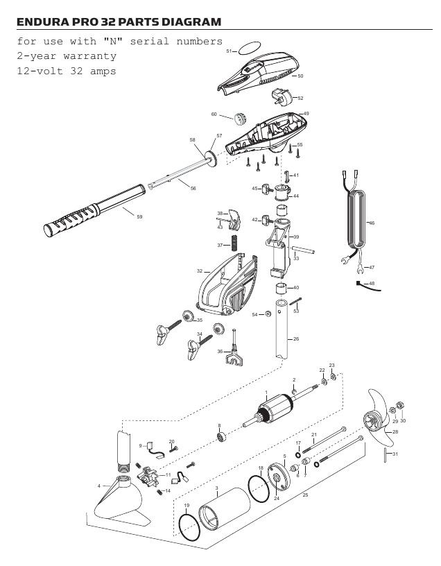 Minn Kota Endura C2 Pro 32 Parts - 2013