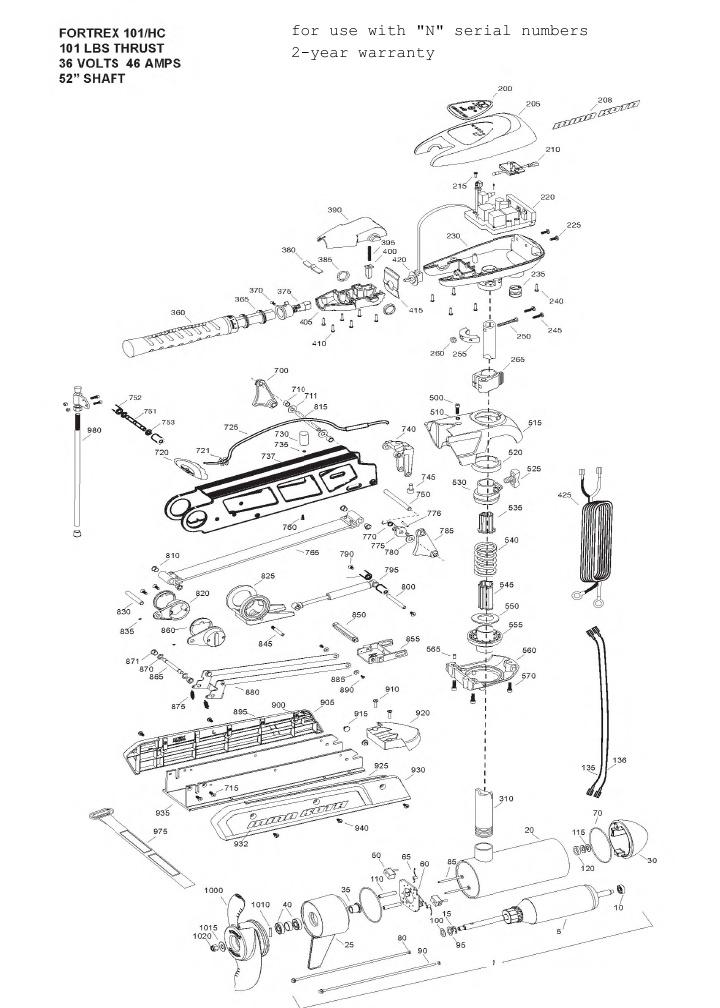 Minn Kota Fortrex 101 Hand Control Parts - 2013
