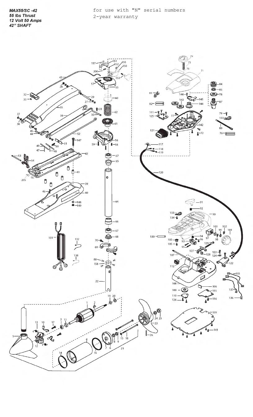 Minn Kota Max 55 SC (42 Inch) Parts - 2013