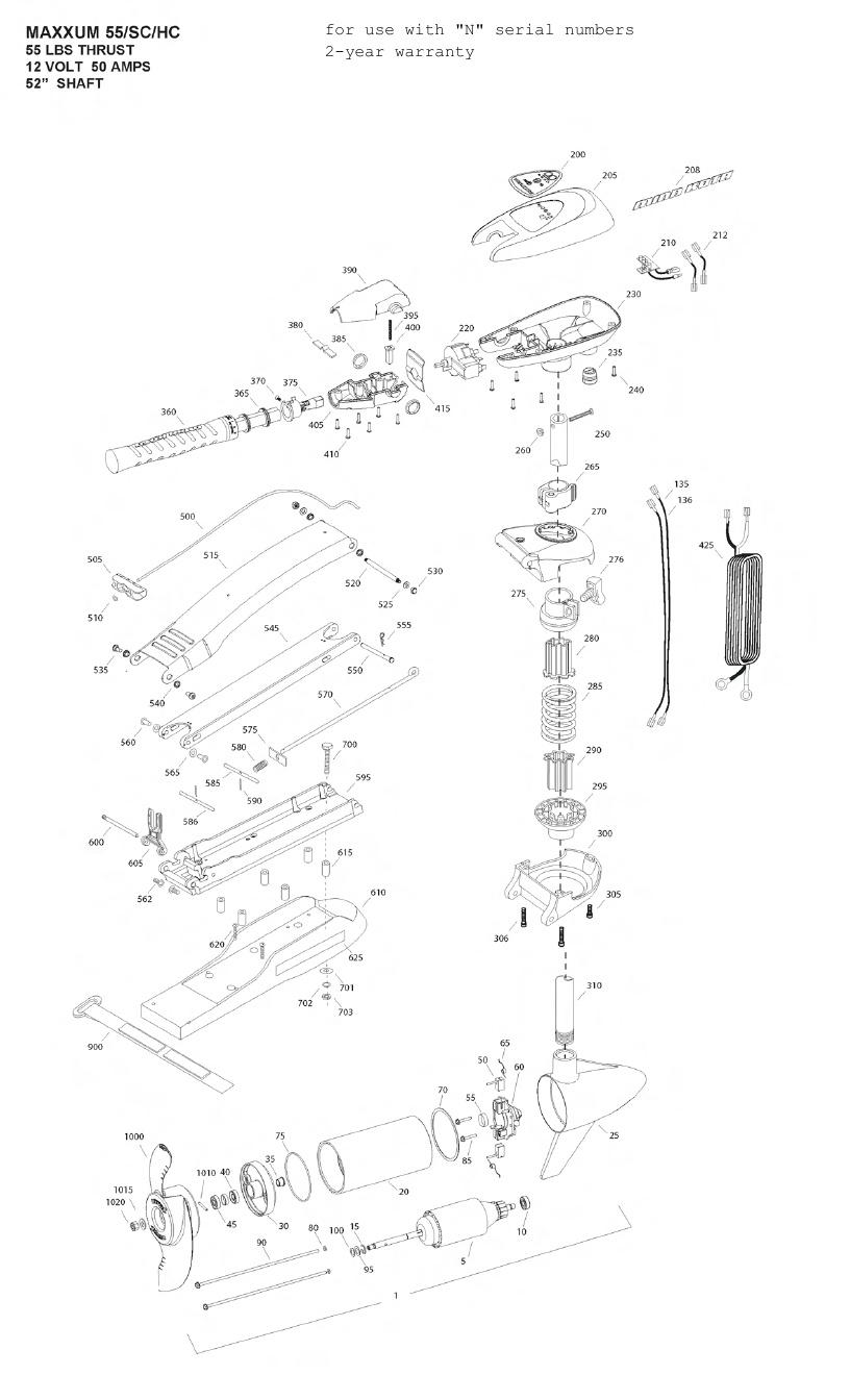 Minn Kota Max 55 SC Hand Control Parts - 2013