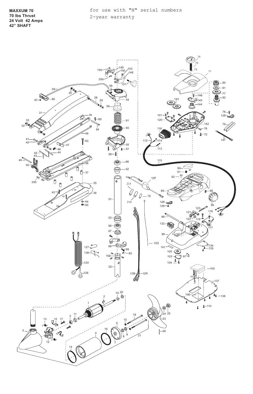 Minn Kota Max 70 (42 Inch) Parts - 2013