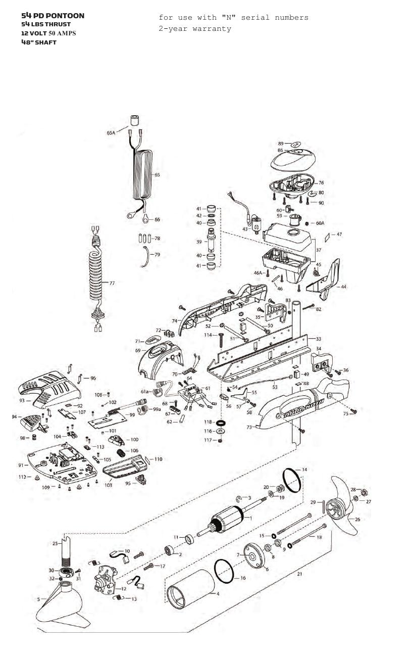 Minn Kota Pontoon V2 54 Parts - 2013