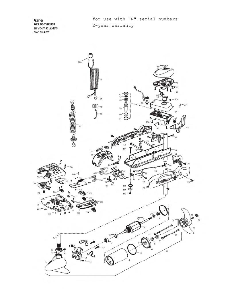 Minn Kota PowerDrive V2 42 Parts - 2013