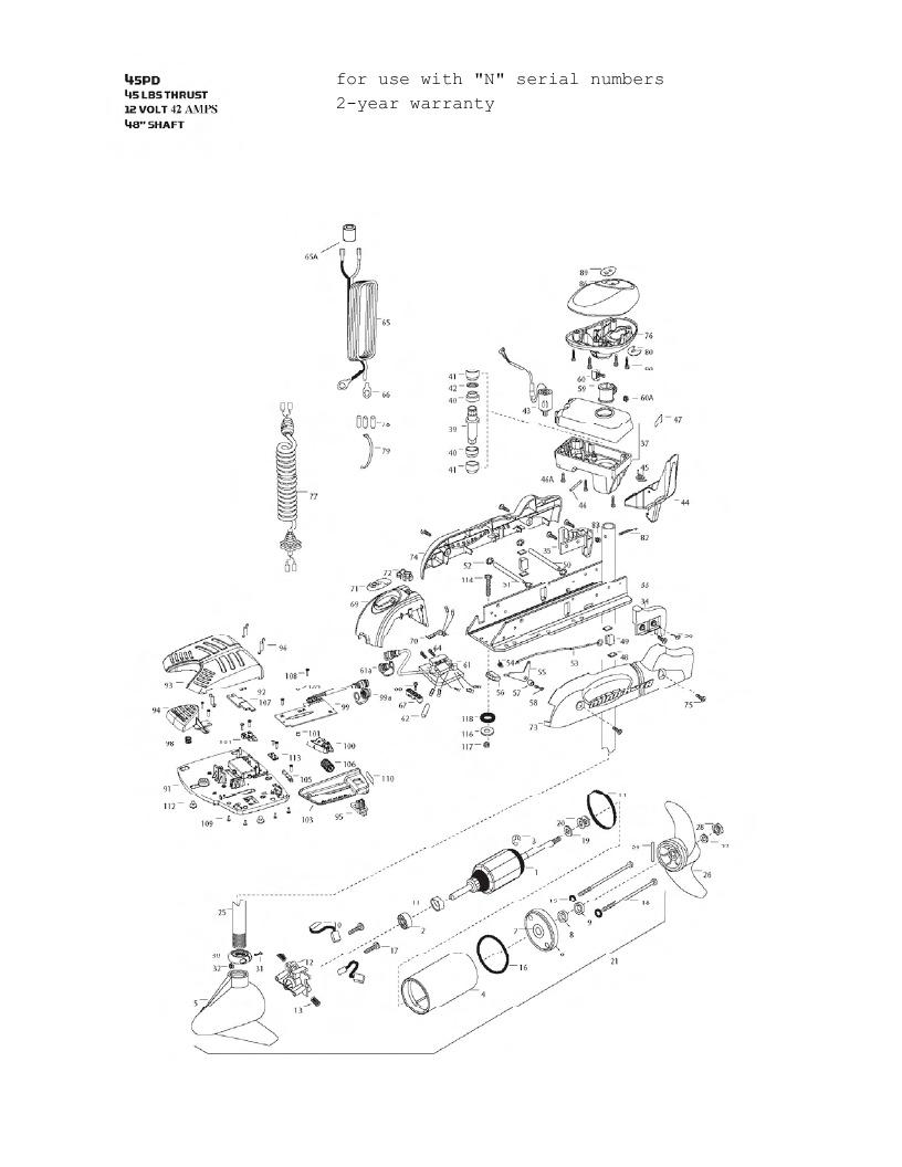 Minn Kota PowerDrive V2 45 Parts - 2013