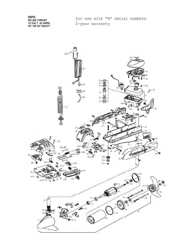 Minn Kota PowerDrive V2 50 Parts - 2013