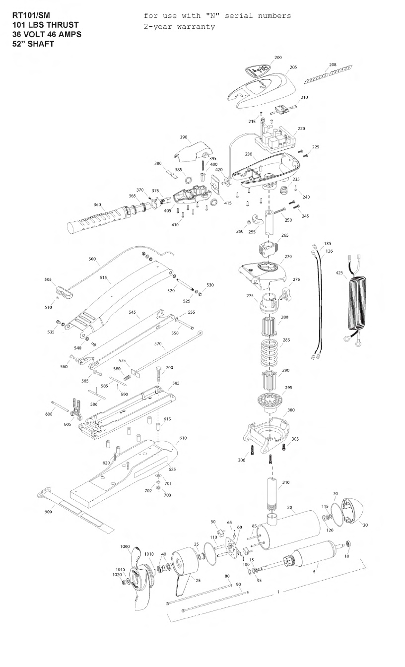 Minn Kota Riptide 101 SM (52 inch) Parts - 2013