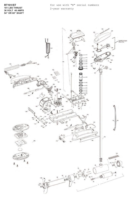 Minn Kota Riptide 101 ST Parts - 2013