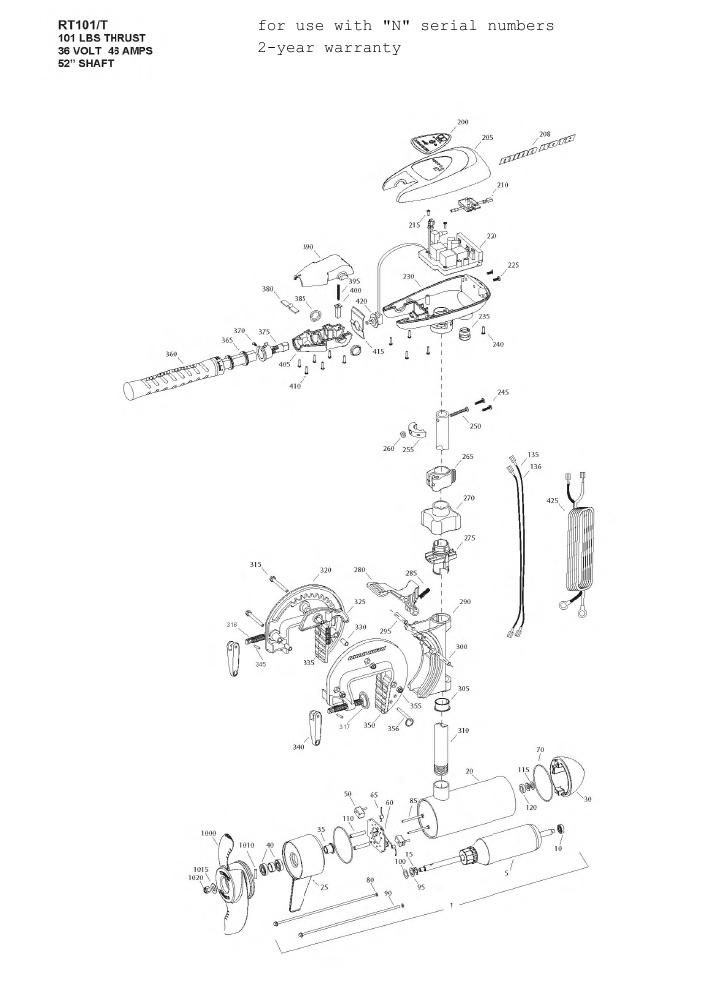 Minn Kota Riptide 101T Parts - 2013