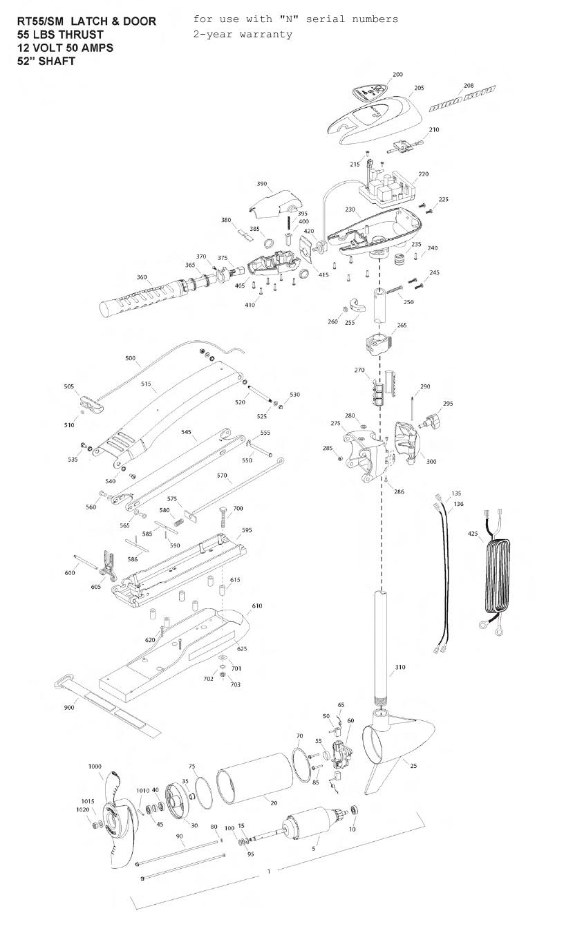 Minn Kota Riptide 55 SM Parts - 2013