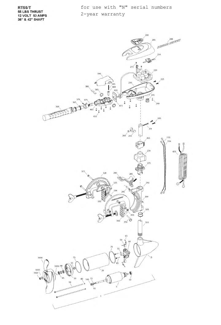 Minn Kota Riptide 55 SC/T Parts - 2013