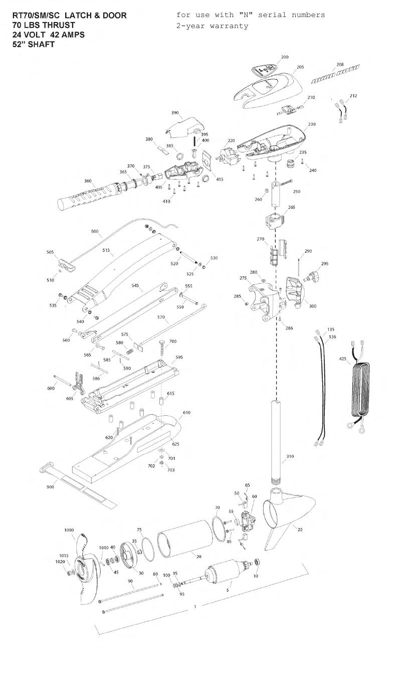 Minn Kota Riptide 70 SM SC Parts - 2013