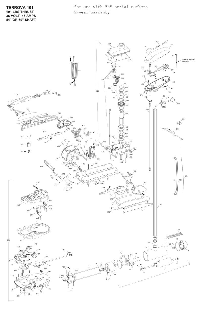 Minn Kota Terrova 101 Parts - 2013