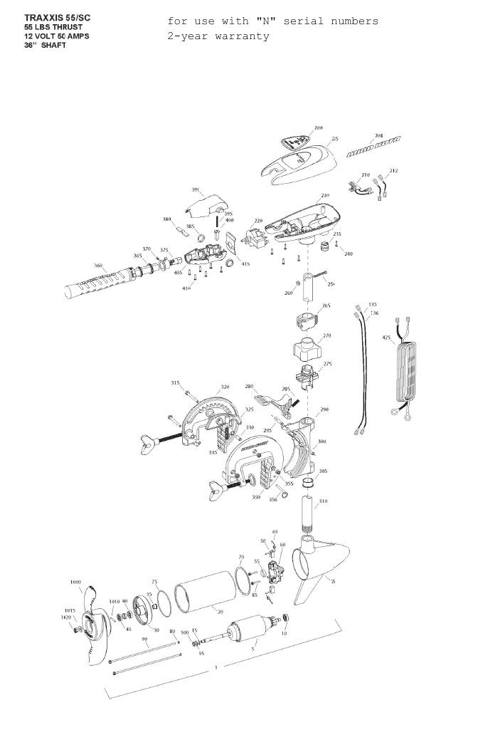 Minn Kota Traxxis 55 SC Parts - 2013