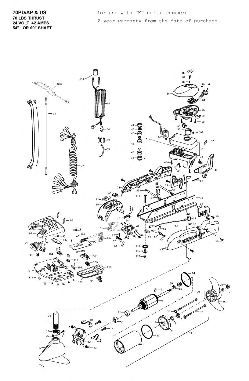 Minn Kota AutoPilot V2 70 Parts - 2010