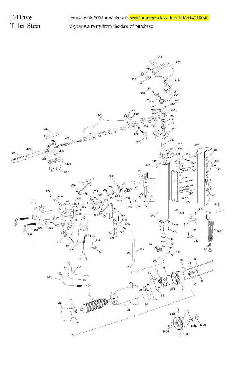 Minn Kota E-Drive Tiller Parts - 2008
