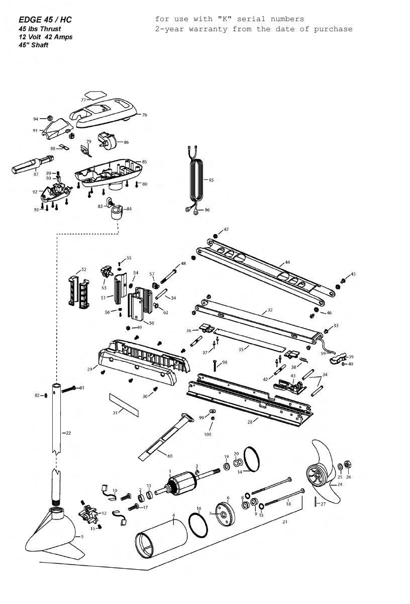 Minn Kota Edge 45 Hand Control Parts - 2010