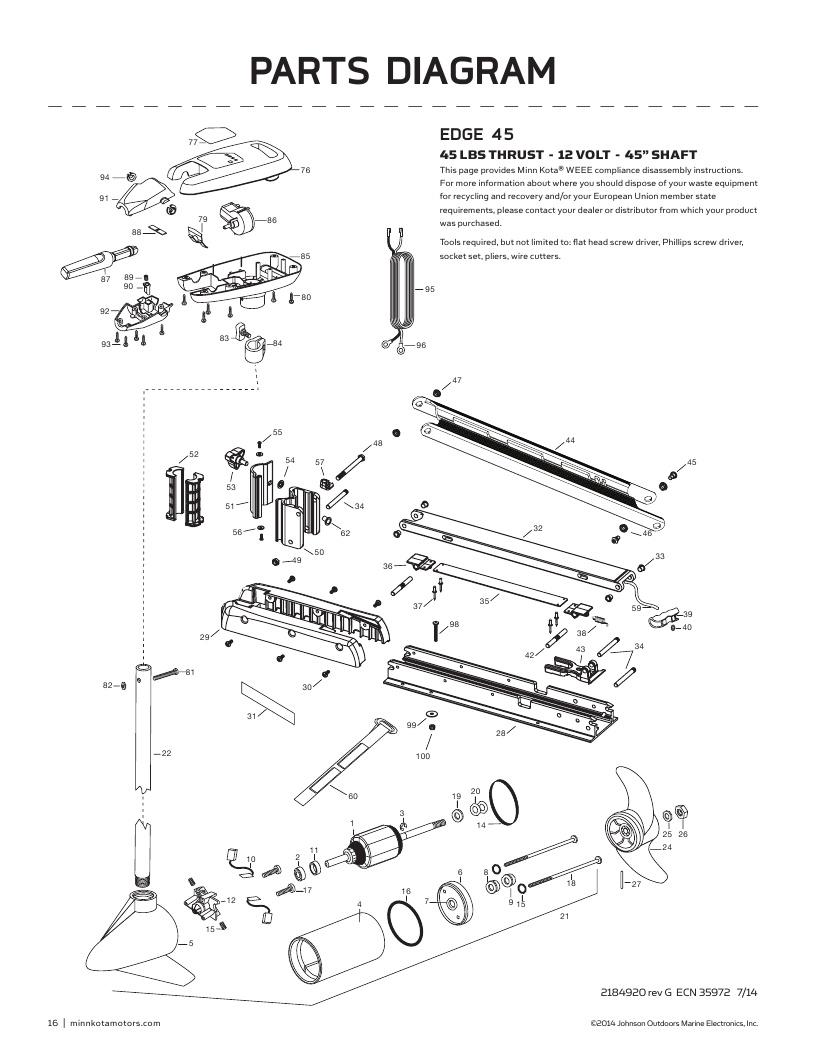 Minn Kota Edge 45 hand control Parts-2017
