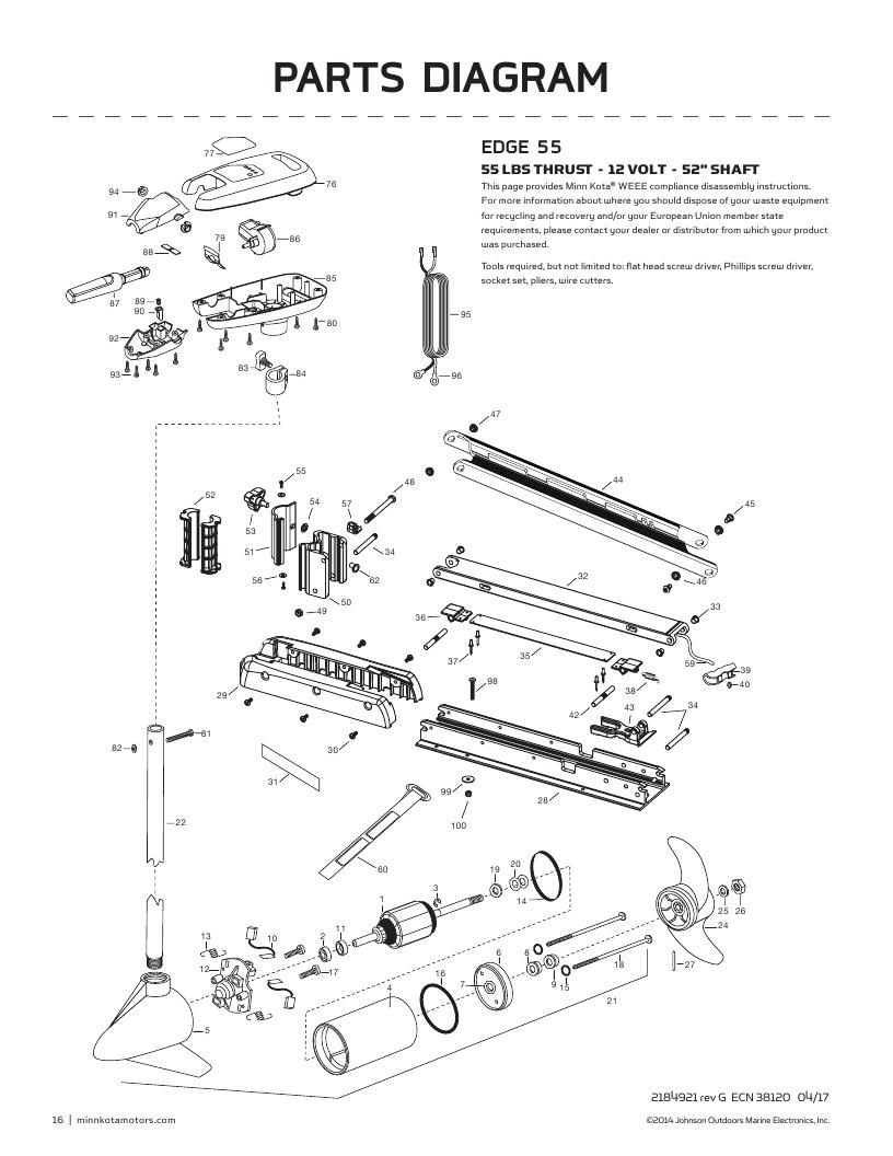 Minn Kota Edge 55 hand control Parts-2018