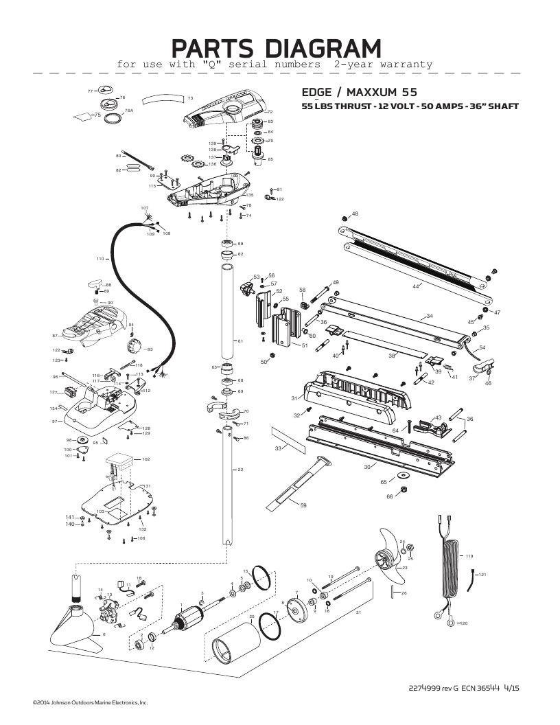 Minn Kota Edge Maxxum 55 OKADA Parts - 2016