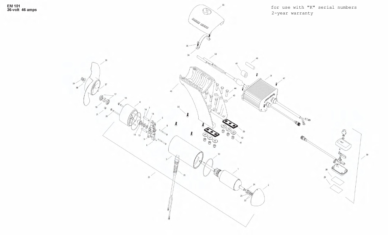 Minn Kota Engine Mount 101 Parts - 2010