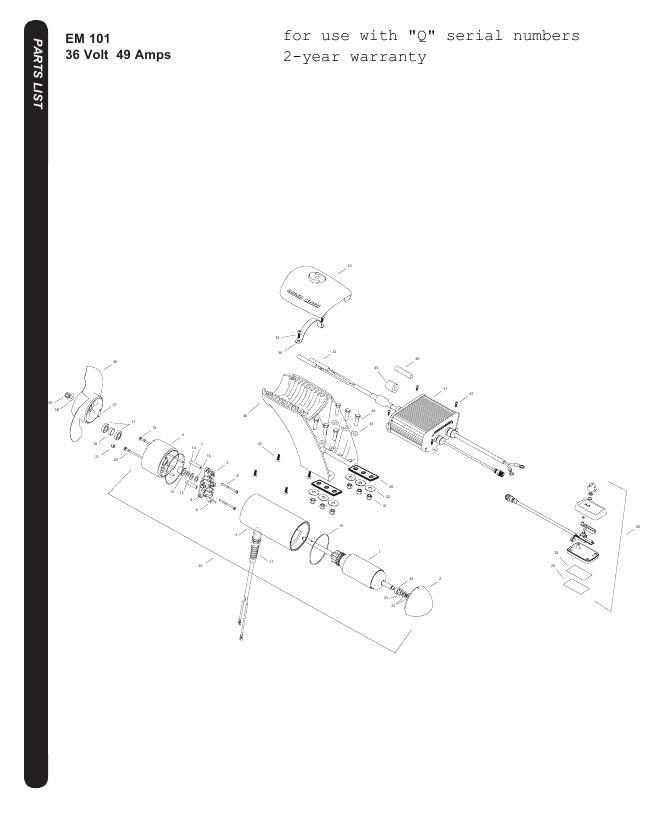 Minn Kota EM 101 Parts - 2016