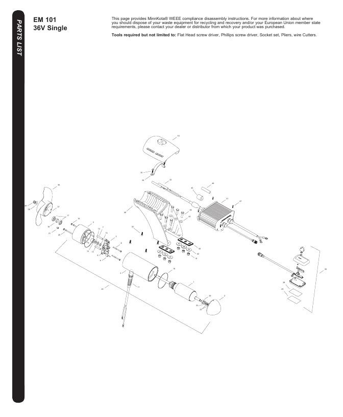 Minn Kota EM 101 Parts-2017